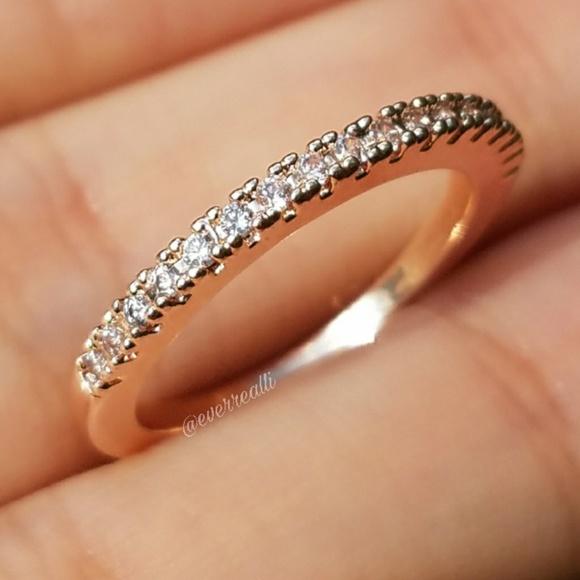 Everrealli Jewelry New Rose Gold Simple Round Diamond Band Ring Poshmark